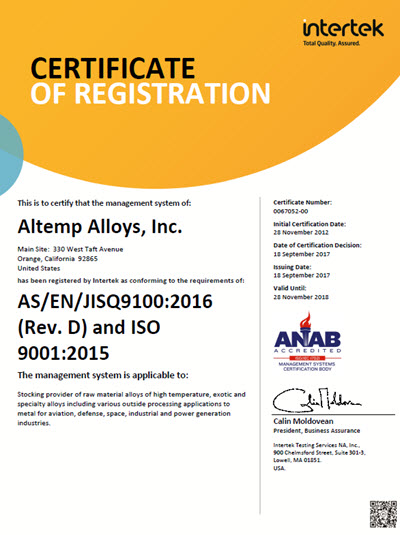 AS9100D Certification | Altemp Alloys, Inc.